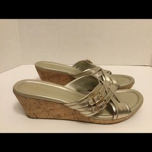Cole Haan Corby Cork Wedge Metallic Gold Sandals